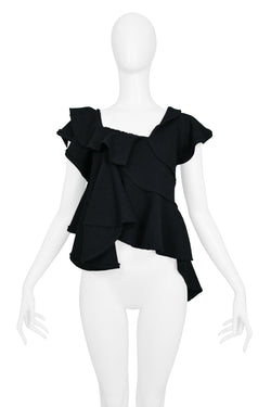 CDG TAO BLACK KNIT ASYMMETRICAL RUFFLE TOP