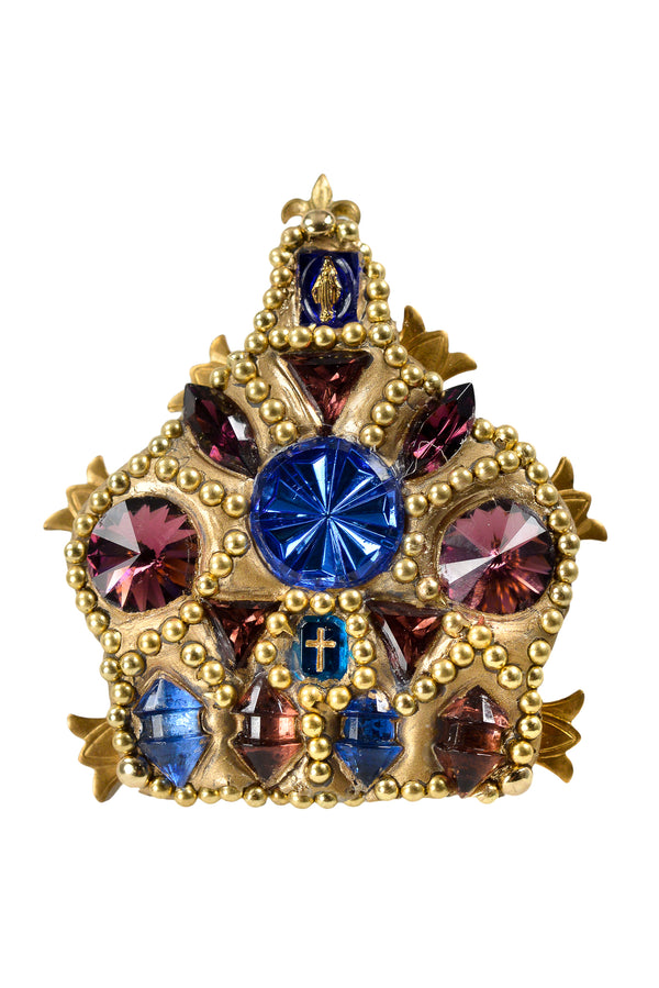 MINADEO BLUE REGAL CROWN BROOCH