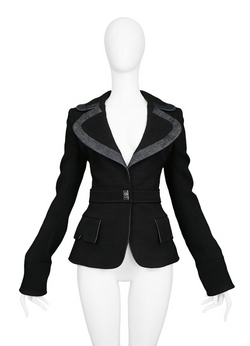BALENCIAGA BY GHESQUIERE BLACK & DENIM NOTCH LAPEL BLAZER 2005