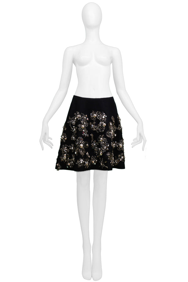PRADA BLACK WRAP SKIRT WITH SILVERWARE CHARMS 2006