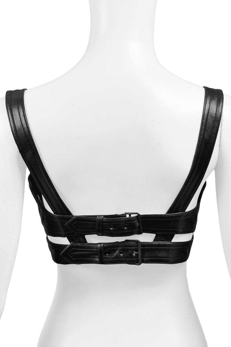 ALAIA BLACK LEATHER BRA WITH DOUBLE BUCKLE BACK