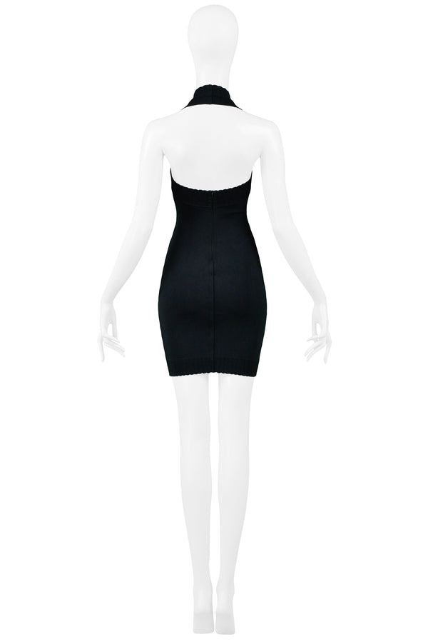 ALAIA BLACK SCALLOPED EDGE HALTER DRESS