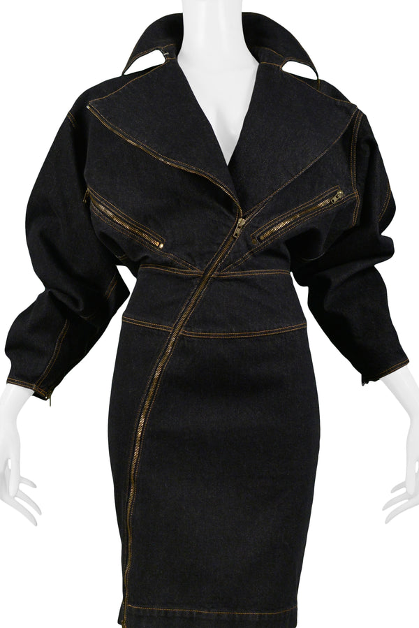 ALAIA BLACK DENIM ZIPPER DRESS 1986