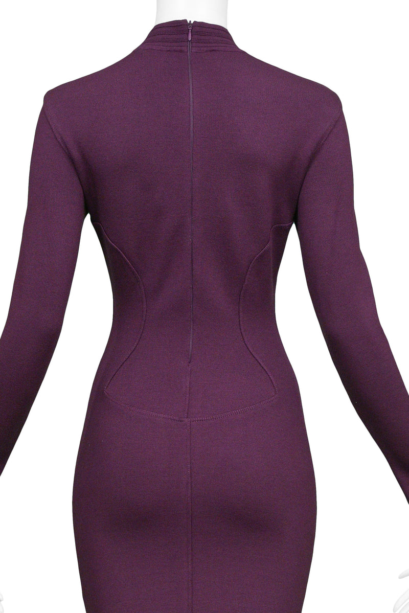 ALAIA PURPLE LONG SLEEVE HIGH V NECK DRESS 1991