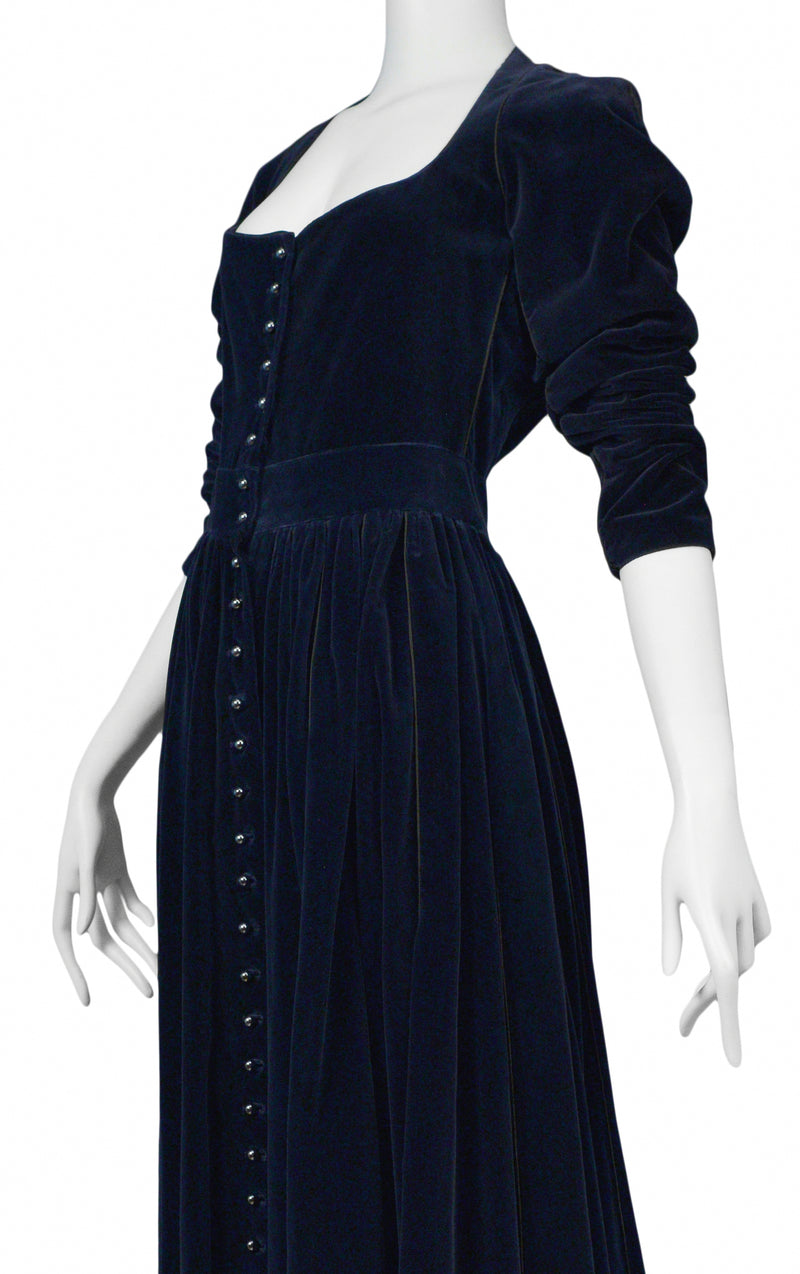 ALAIA NAVY VELVET BUTTON DOWN DRESS 1986