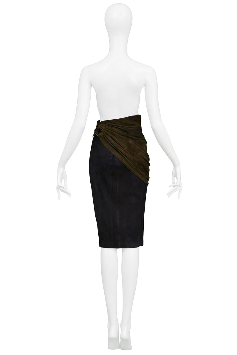 ALAIA NAVY & BLACK SUEDE PENCIL SKIRT