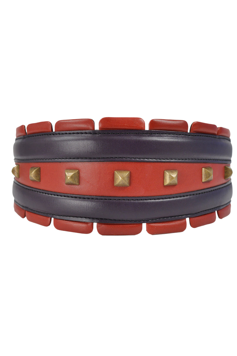 ALAIA RED & PURPLE LEATHER BELT WITH STUDS