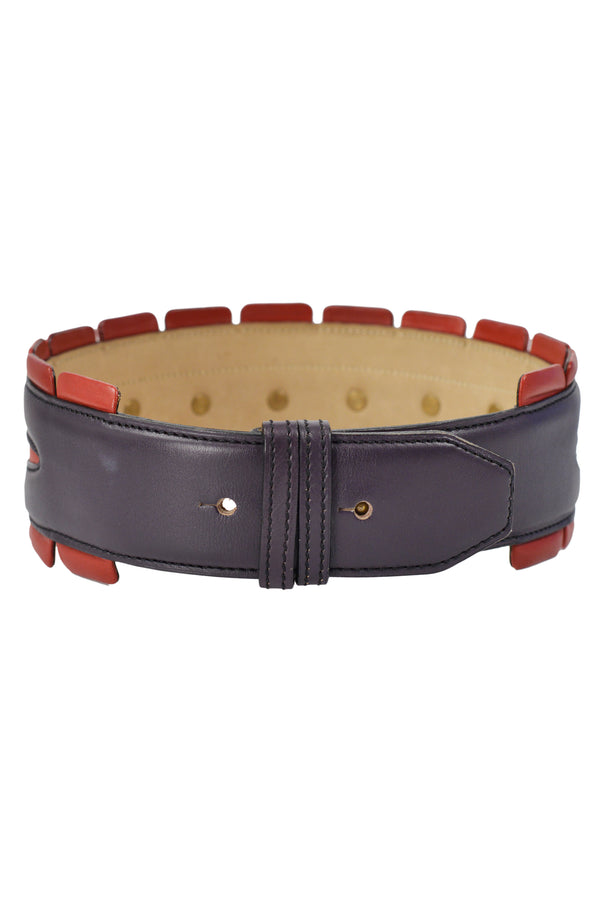 RED & PURPLE LEATHER BELT WITH STUDS