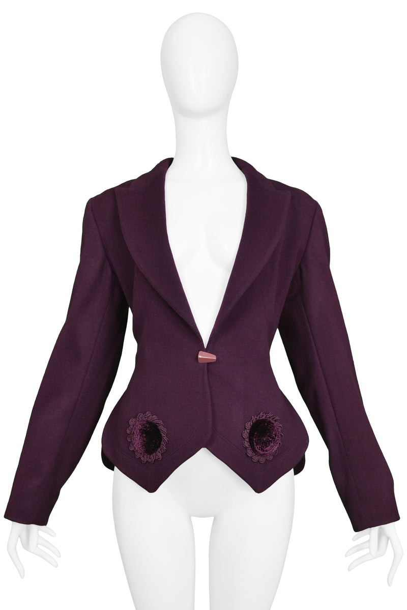 ALAIA PURPLE & VELVET APPLIQUE JACKET 1991