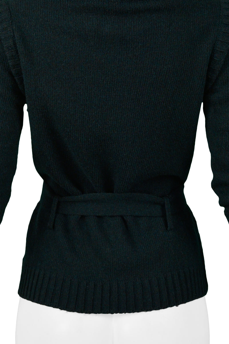 BALENCIAGA DARK GREEN CARDIGAN WITH GIANT COWL NECK 2007