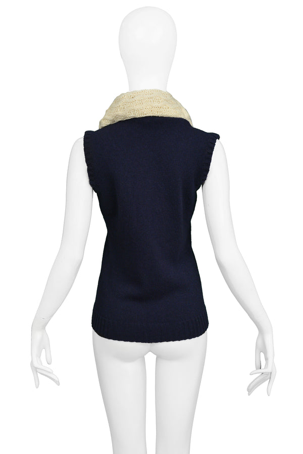 BALENCIAGA NAVY BLUE SWEATER VEST WITH GIANT COWL 2007
