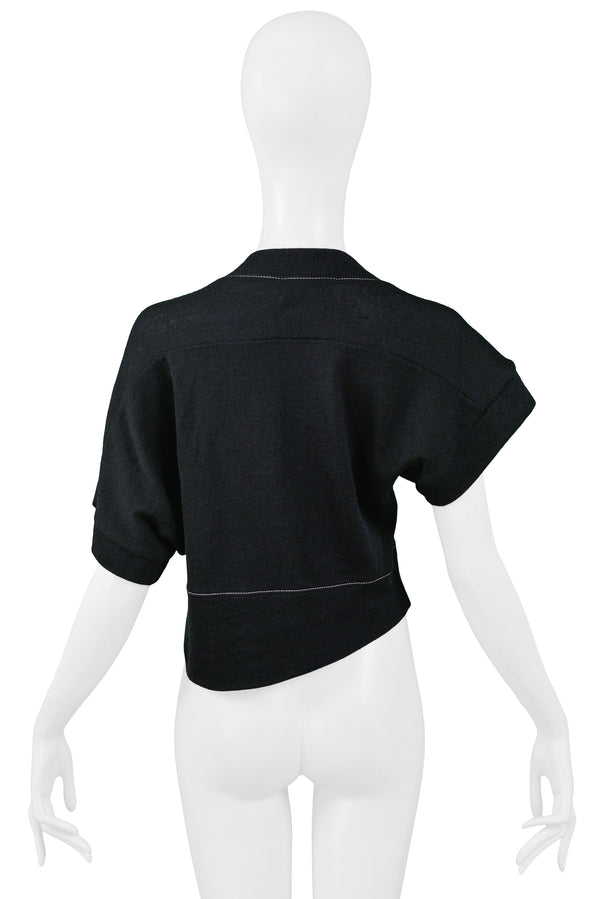 BALENCIAGA BLACK ASYMMETRICAL SWEATER WITH WHITE STITCHING 2002