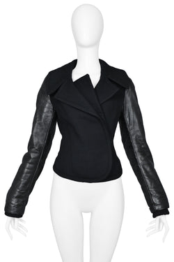 BALENCIAGA BY GHESQUIERE BLACK WOOL & LEATHER PEPLUM JACKET 2002