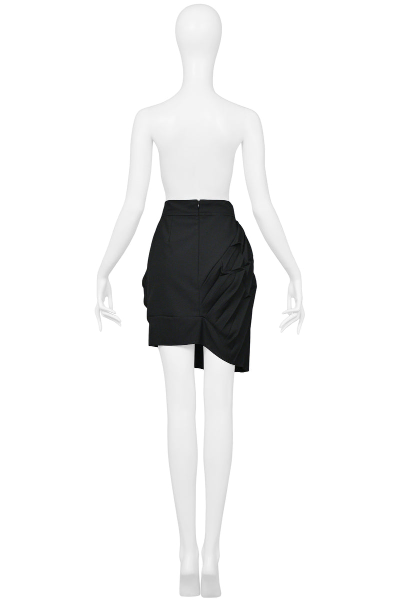 BALENCIAGA BY GHESQUIERE BLACK ASYMMETRICAL PLEATED MINI SKIRT 2003