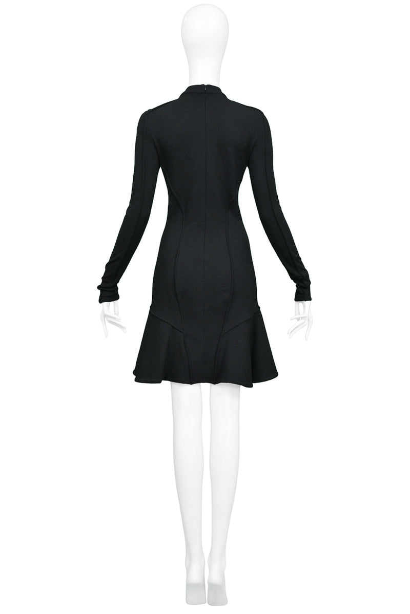 BALENCIAGA BY GHESQUIERE BLACK SCUBA DRESS WITH FLOUNCE
