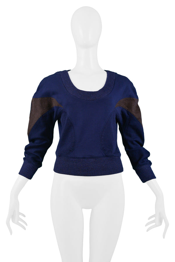 BLUE & BROWN INSET PANEL SWEATSHIRT 2003
