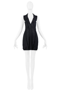 BLACK ABSTRACT MODERNIST FOLDING DRESS 2004