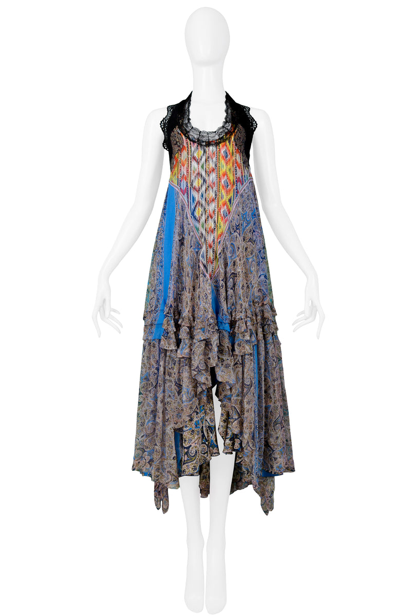 BALENCIAGA MULTICOLOR PAISLEY PEASANT DRESS 2005