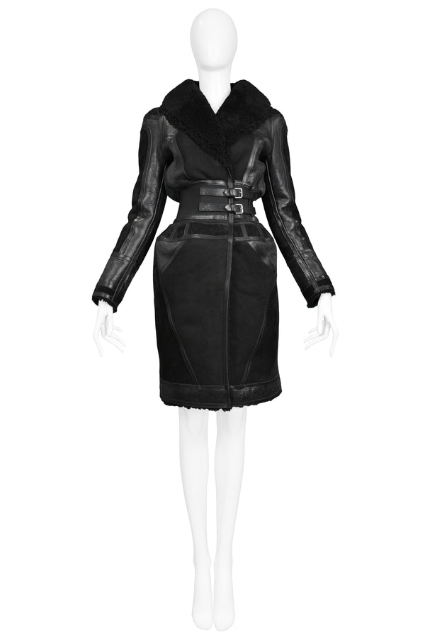 ICONIC BLACK SHEARLING RUNWAY COAT 2007