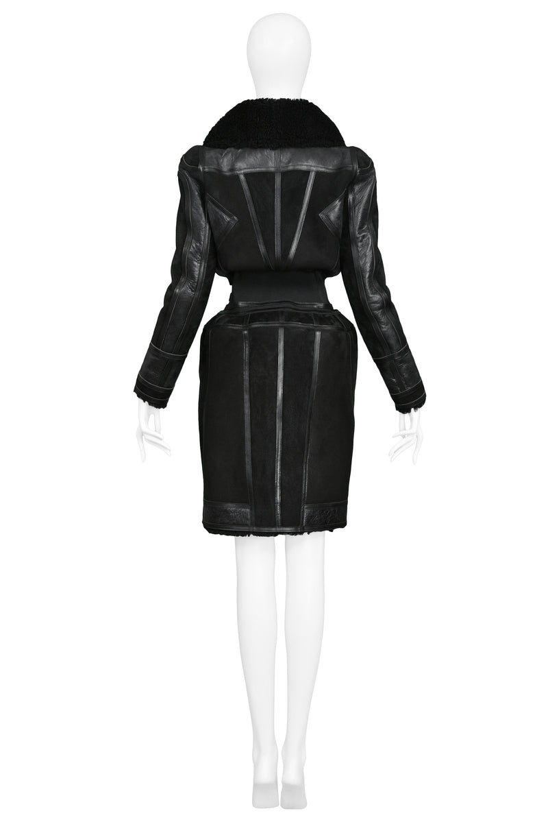 BALENCIAGA ICONIC BLACK SHEARLING RUNWAY COAT 2007