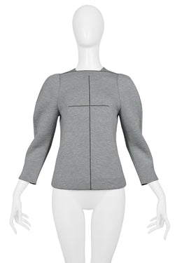 BALENCIAGA BY GHESQUIERE GREY NEOPRENE TOP 2008