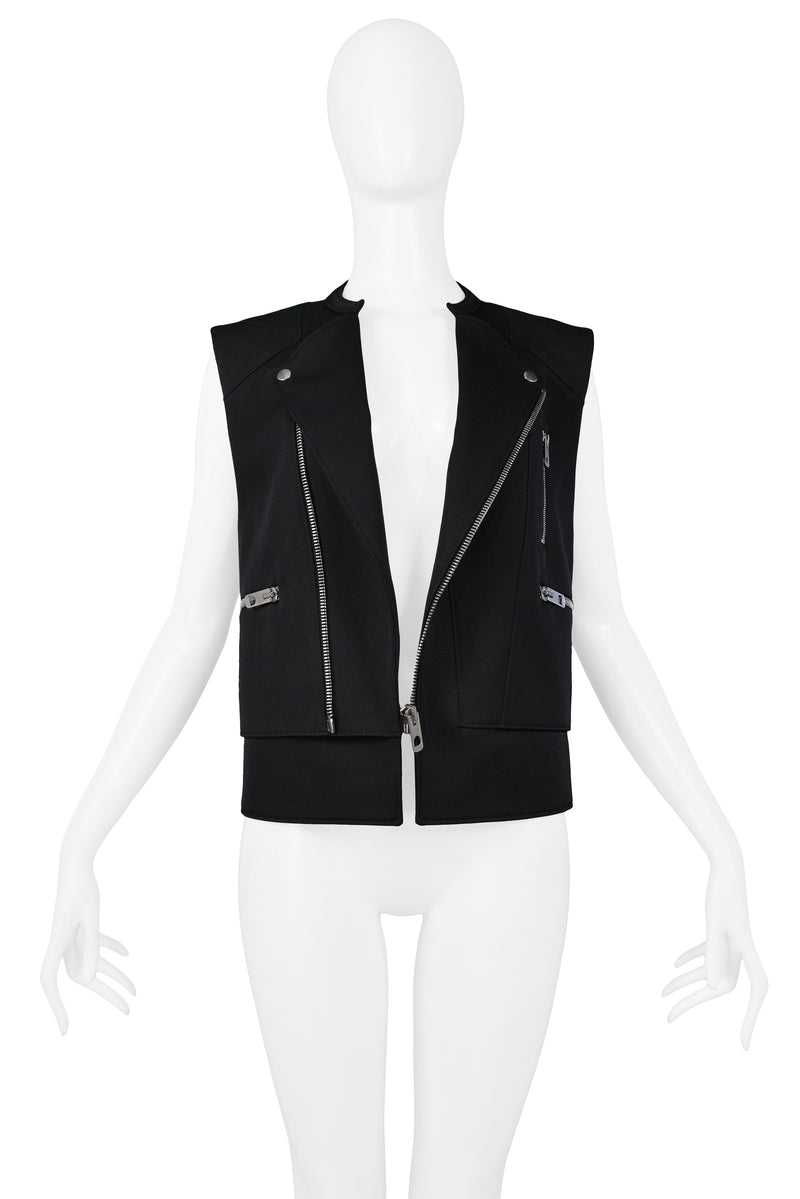 BALENCIAGA BLACK MOTORCYCLE ZIPPER VEST 2011