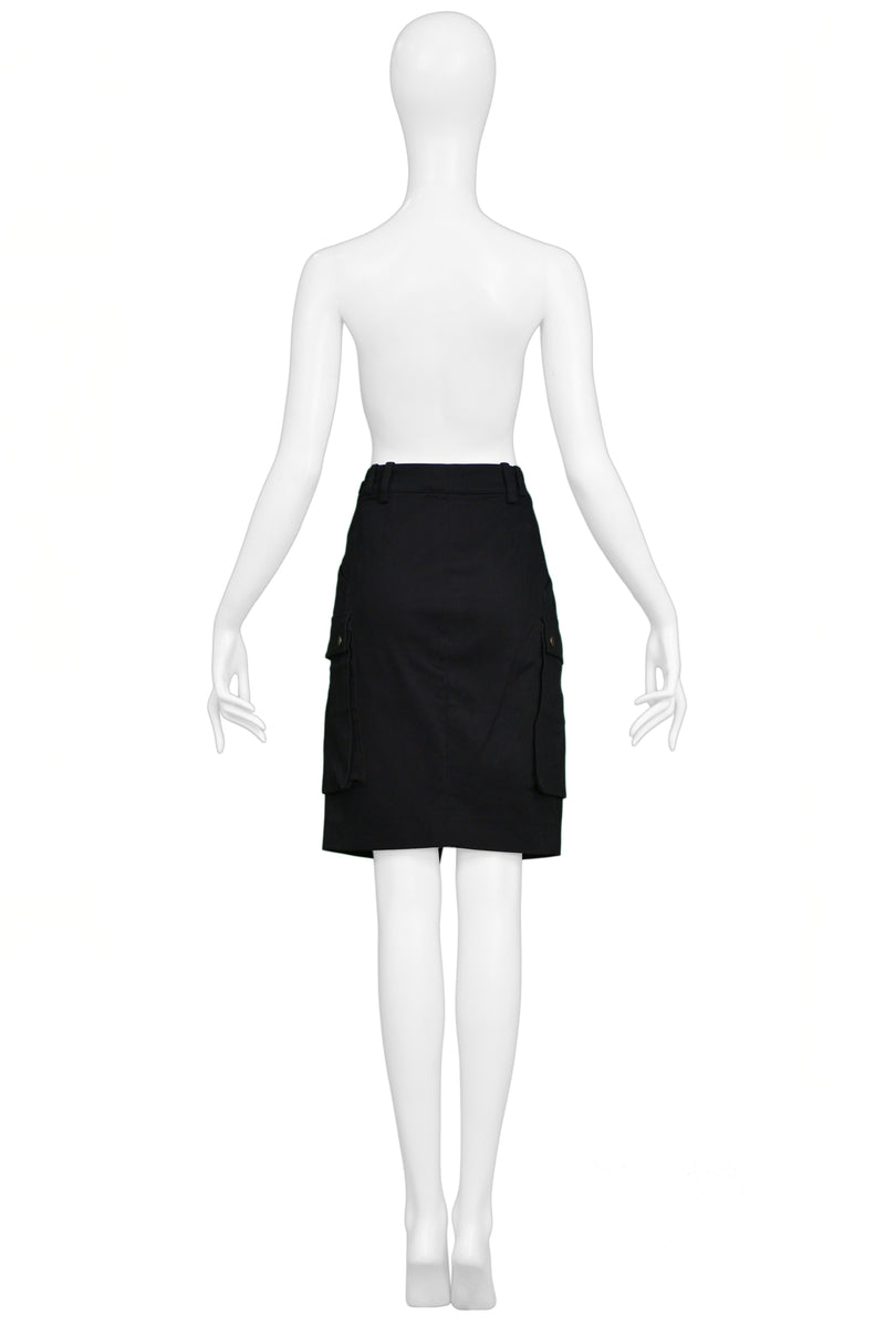 BALENCIAGA BY GHESQUIERE BLACK CARGO SKIRT 2002