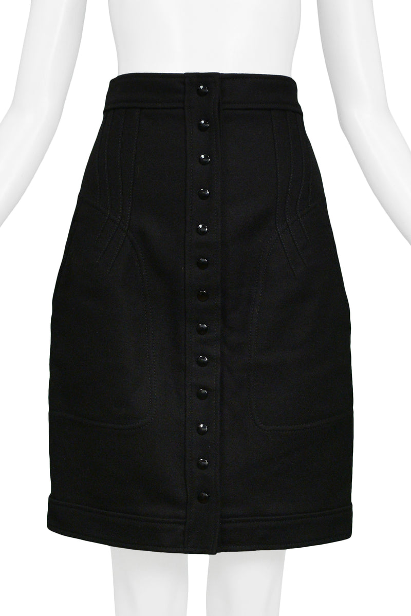 BALENCIAGA BY GHESQUIERE BLACK SNAP FRONT SKIRT 2003