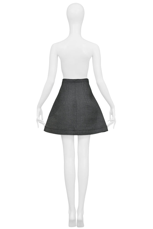 BALENCIAGA BY GHESQUIERE GREY SNAP FRONT A-LINE SKIRT 2003