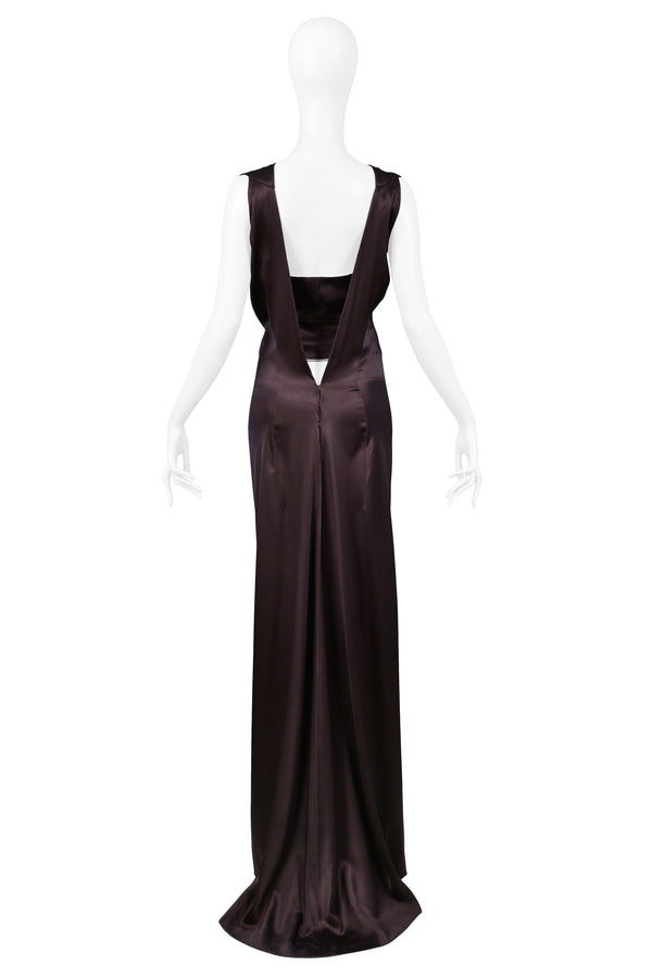 BALENCIAGA BROWN SATIN CORSET GOWN