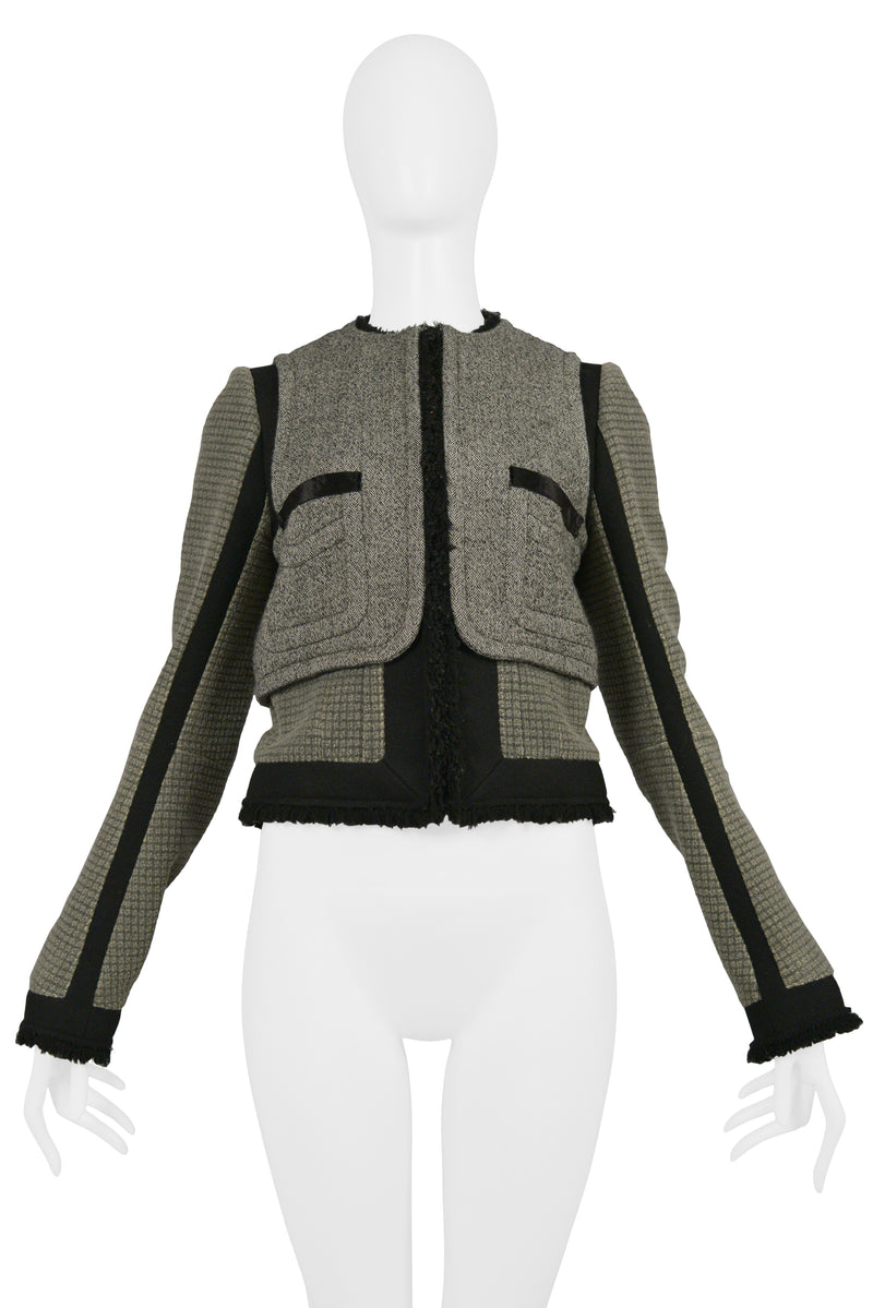 BALENCIAGA GREY & BLACK WOOL JACKET WITH RAW EDGES