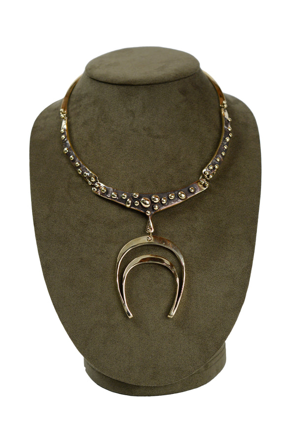 JACK BOYD BRUTALIST BRONZE HORSE SHOE NECKLACE 1970s