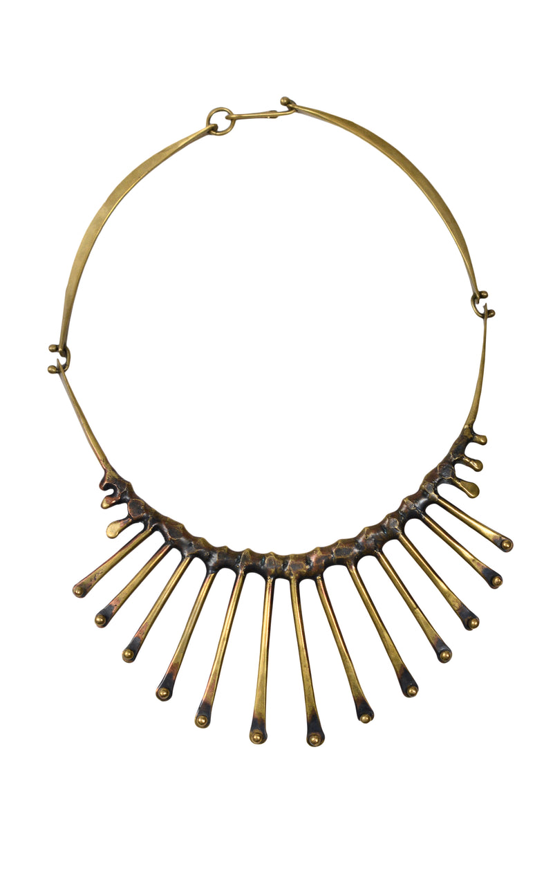 JACK BOYD BRUTALIST BRONZE SPORE SPIKE COLLAR NECKLACE