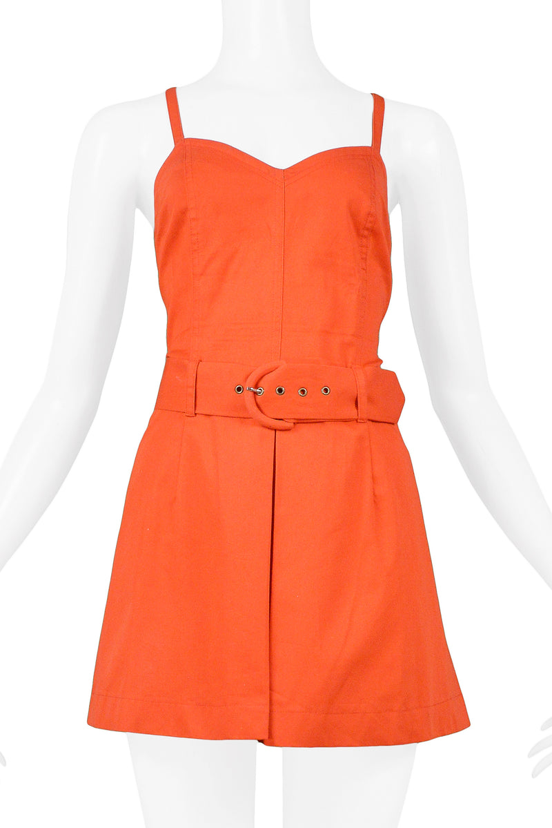 BYBLOS RED COTTON ROMPER WITH BELT