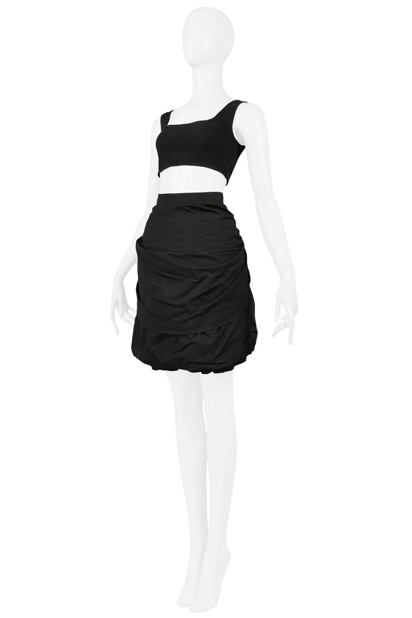 BLACK JERSEY TOP & COTTON SKIRT RUFFLE COLLECTION ENSEMBLE 1989