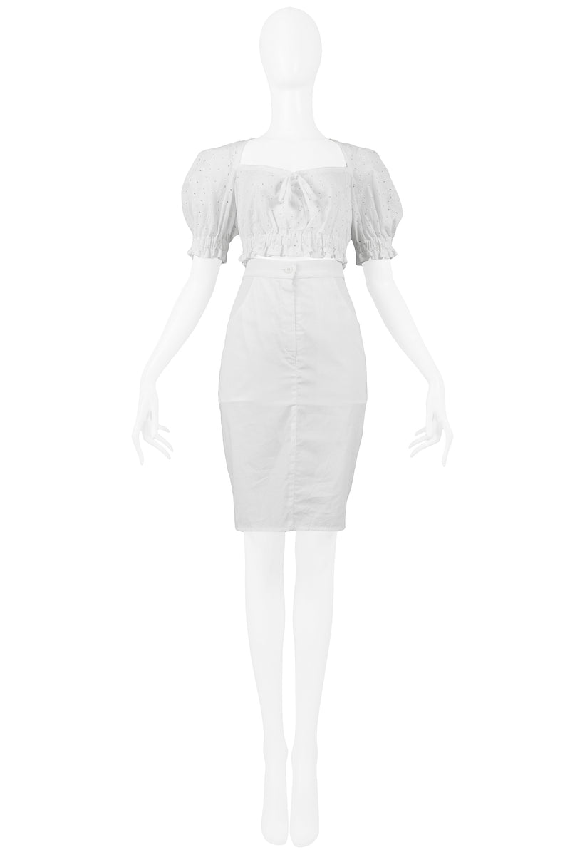 BYBLOS WHITE EYELET CROP TOP & SKIRT ENSEMBLE 1989