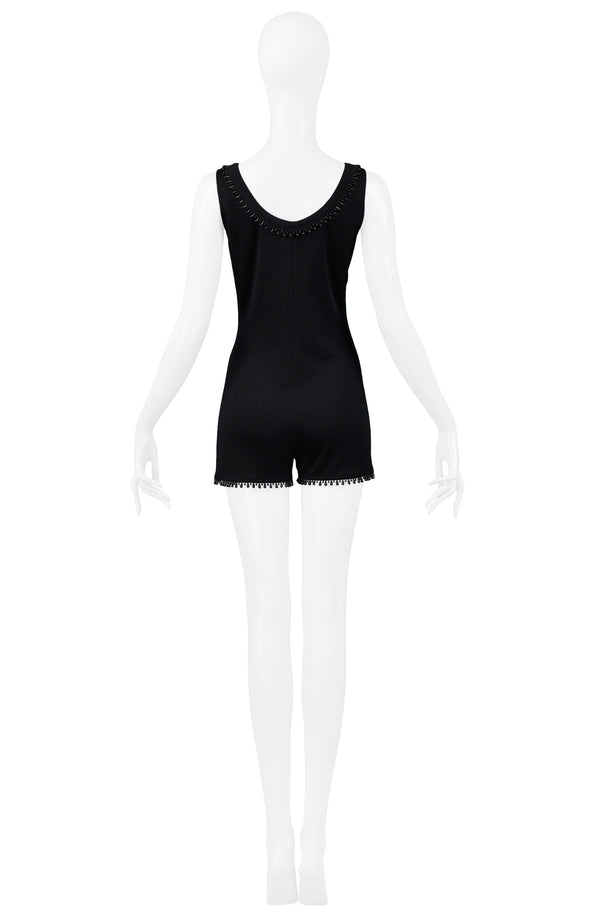 BYBLOS BLACK KNIT BEADED ROMPER 1992