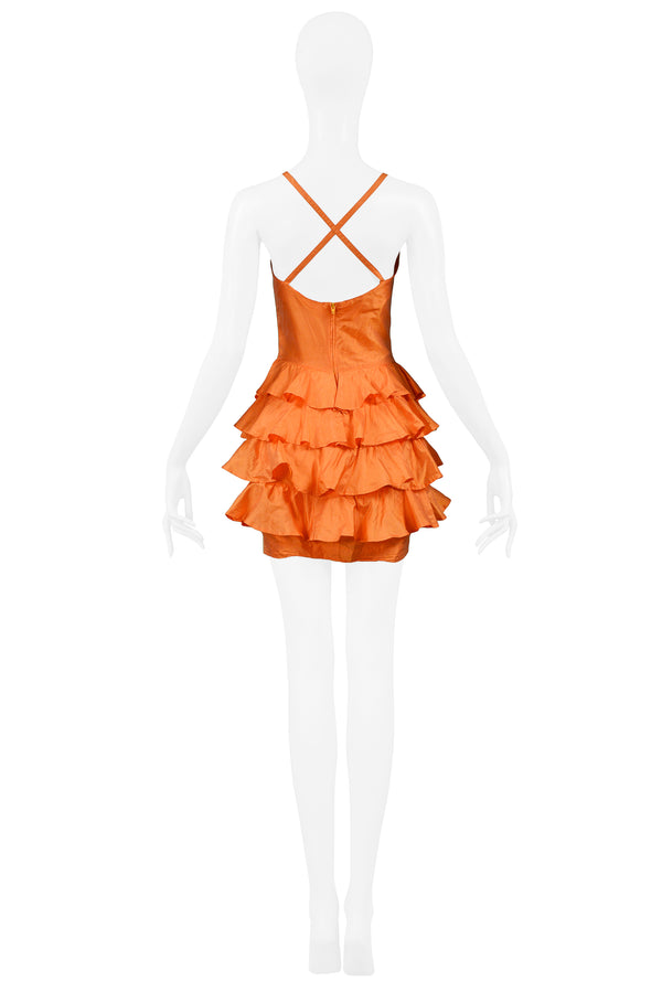 BYBLOS ORANGE SILK RUFFLE DRESS 1992