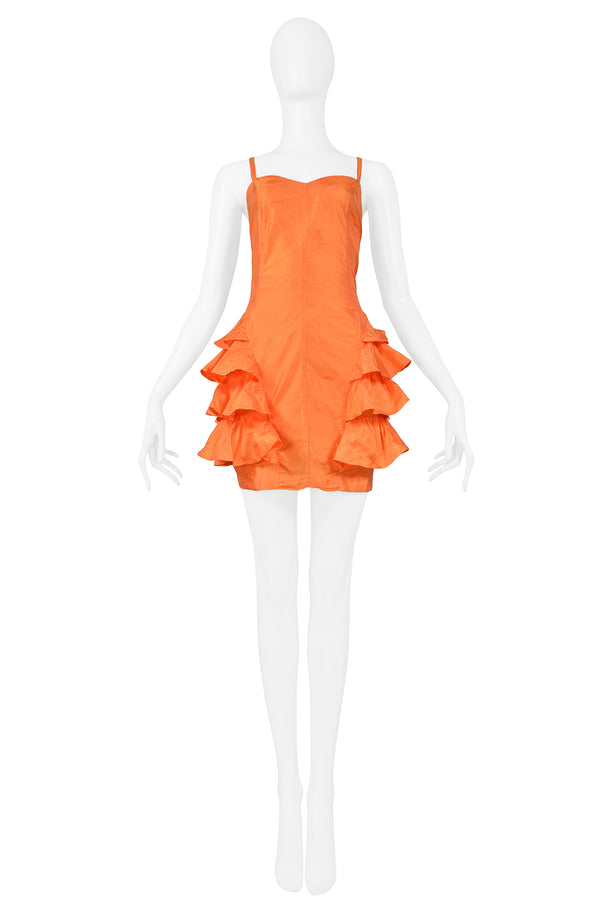 ORANGE SILK RUFFLE DRESS 1992