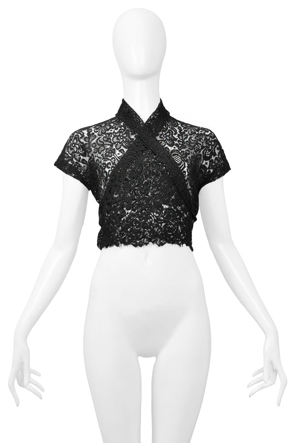 CALLAGHAN BY ROMEO GIGLI BLACK LACE WRAP TOP