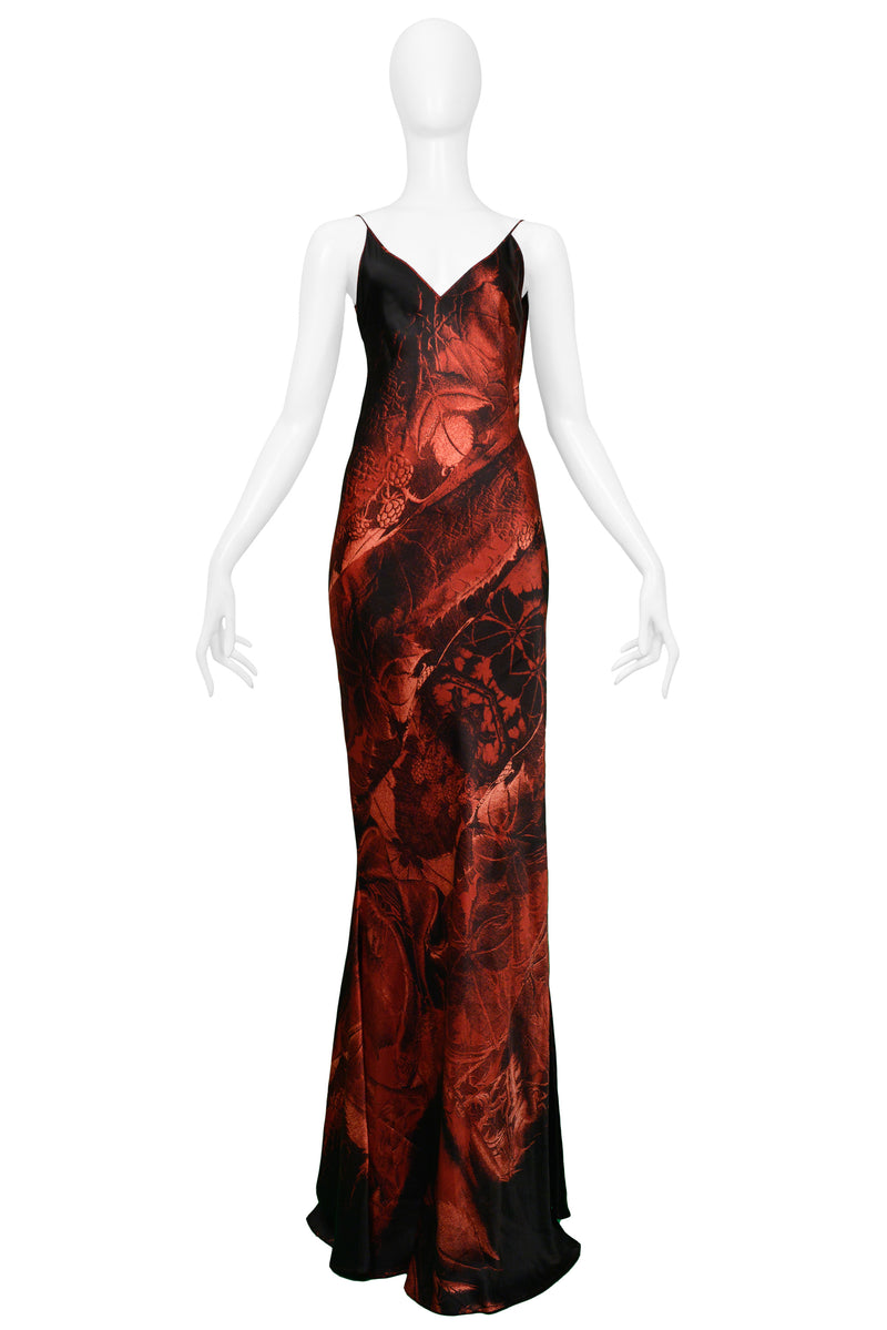 CAVALLI BLACK & RED SLIP EVENING GOWN