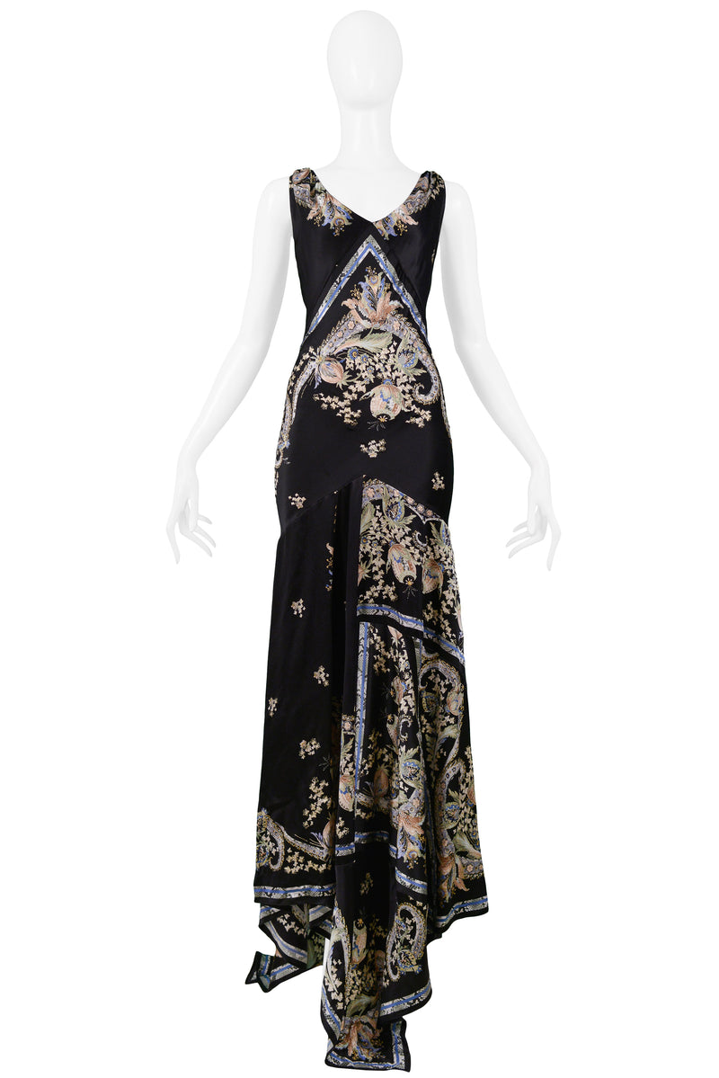 CAVALLI BLACK SATIN FLORAL EVENING GOWN WITH METAL TASSELS