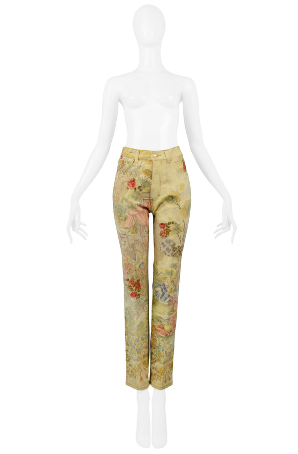 CAVALLI VICTORIAN PRINT JEANS WITH SUEDE ROSES