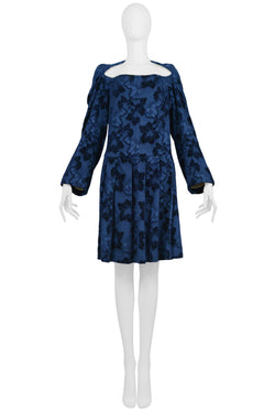 CDG BLUE VELVET DEVORE FLORAL DRESS 1996