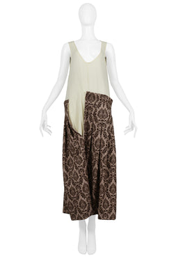 CDG MUSLIN & BROWN VELVET BURNOUT DRESS 1996