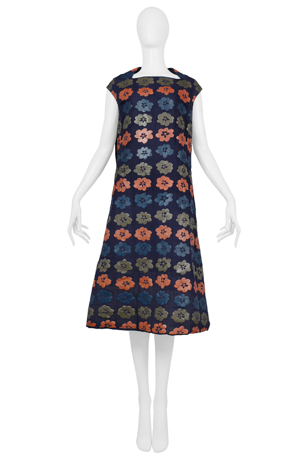 CDG NAVY DRESS WITH GREY BLUE & CORAL FLOWER PRINT 1996