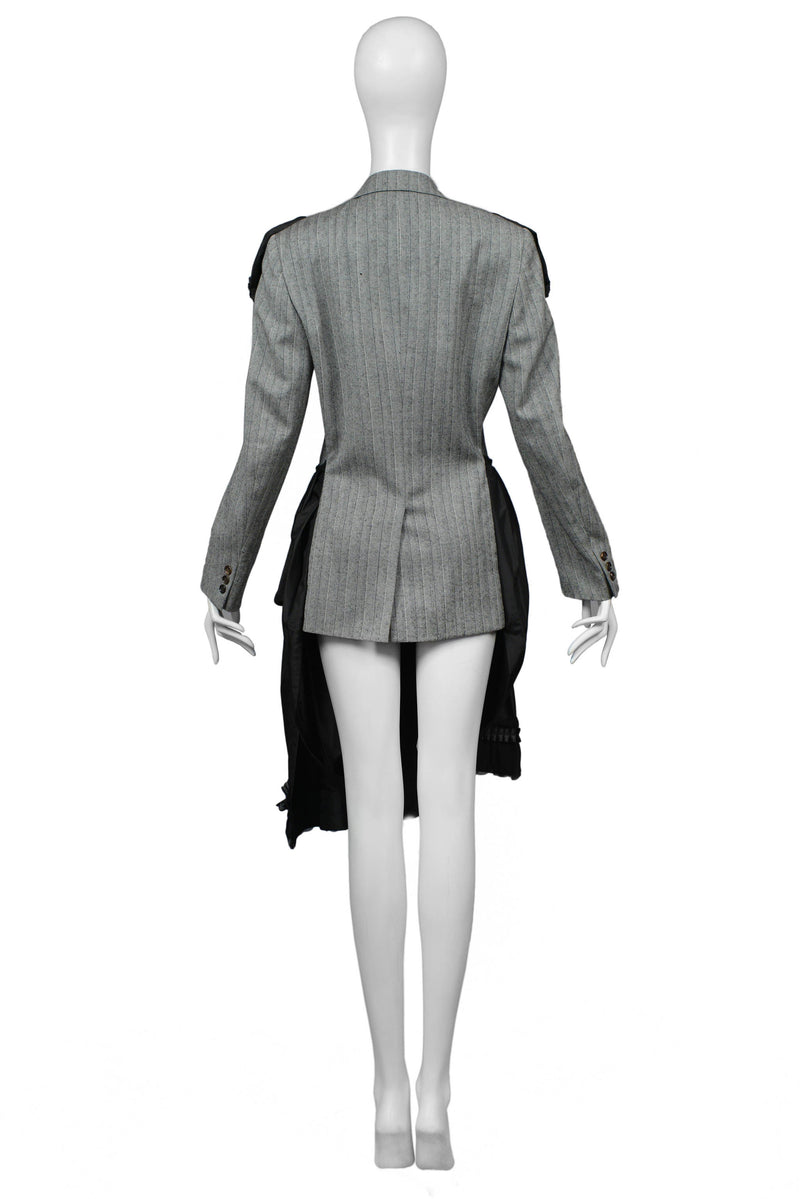 CDG GREY PINSTRIPE & BLACK FANCY COAT DRESS 2006