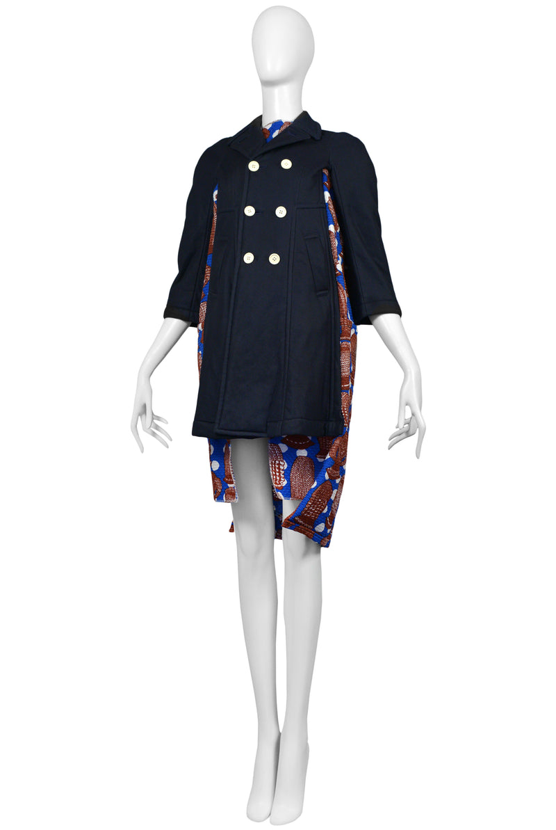 CDG 2008 AFRICA PRINT AND NAVY COAT