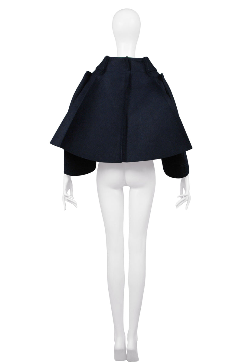 CDG NAVY CROPPED FLAT CAPELET JACKET 2012