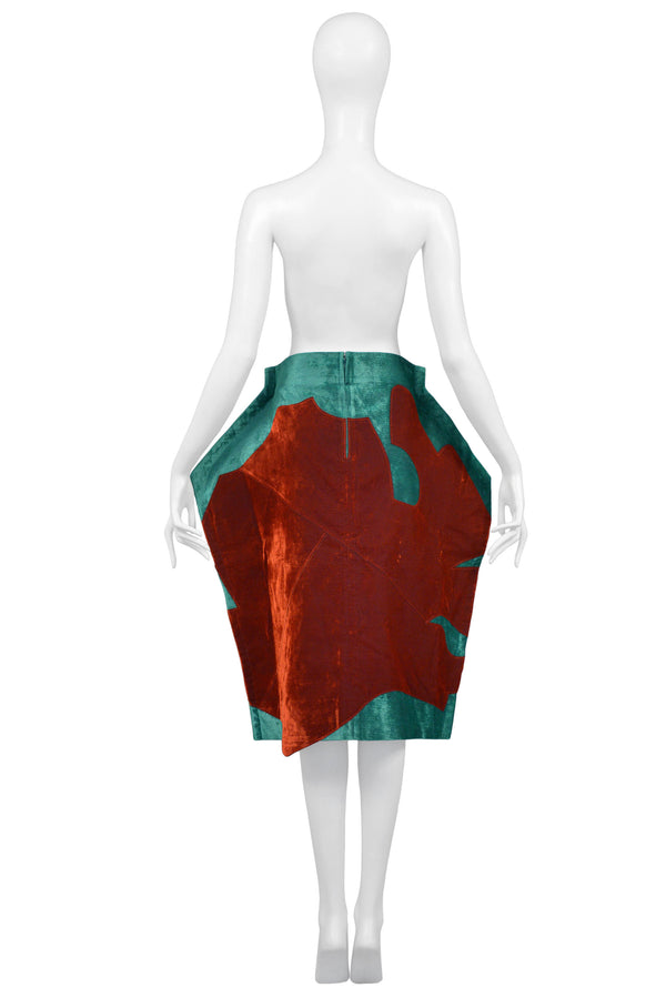 CDG GREEN & BROWN VELVET FLAT SKIRT 2012